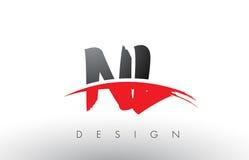 Le NL N L brosse Logo Letters avec l'avant de brosse de bruissement de rouge et de noir illustration stock