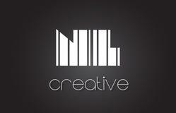 Le NL N L lettre Logo Design With White et lignes noires Photo stock
