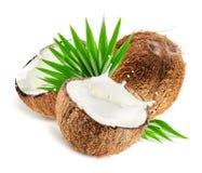 Le noci di cocco con latte spruzzano e coprono di foglie isolato su fondo bianco Immagini Stock