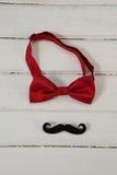 Le noeud papillon et la moustache de faux ont arrangé sur la planche en bois Photos libres de droits