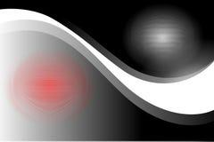 Le noir, le blanc et le rouge abstraits de vecteur ont ombragé le fond onduleux de doublure, illustration de vecteur