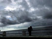 Le noir d'oiseau de pluie sur le blanc aiment Images stock