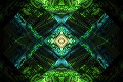 Le noir de papier peint de fractale de Fraktal et les formes géométriques colorées illustrent la galaxie d'explosion de fréquence photos libres de droits