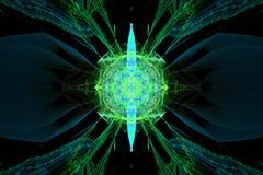 Le noir de papier peint de fractale de Fraktal et les formes géométriques colorées illustrent la galaxie d'explosion de fréquence images libres de droits