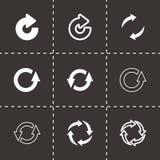 Le noir de vecteur régénèrent l'ensemble d'icône Photographie stock libre de droits
