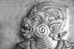 Le noir et blanc du soulagement thaïlandais de beaux-arts Photo libre de droits