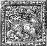 Le noir et blanc du soulagement thaïlandais de beaux-arts Images libres de droits