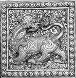 Le noir et blanc du soulagement thaïlandais de beaux-arts Image stock