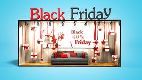 Le noir moderne vendredi de concept dans le magasin avec des cadeaux et les remises 3D rendent sur le fond bleu avec l'ombre illustration de vecteur
