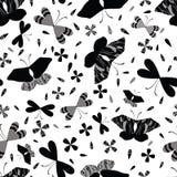 Le noir sur les papillons blancs rayent Art Seamless Vector Pattern illustration libre de droits