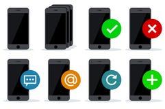 Le noir téléphone des icônes avec différentes actions Photographie stock libre de droits