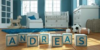 Le nom Andreas écrit avec les cubes en bois en jouet chez la pièce du ` s des enfants Photos stock