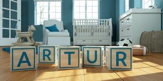 Le nom Artur écrit avec les cubes en bois en jouet chez la pièce du ` s des enfants Photographie stock