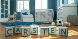 Le nom Carsten écrit avec les cubes en bois en jouet chez la pièce du ` s des enfants Image stock