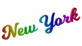 Le nom 3D calligraphique de New York City a rendu l'illustration des textes colorée avec le gradient d'arc-en-ciel de RVB Image stock