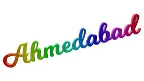 Le nom 3D calligraphique de ville d'Ahmedabad a rendu l'illustration des textes colorée avec le gradient d'arc-en-ciel de RVB Illustration Stock