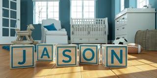 Le nom Jason écrit avec les cubes en bois en jouet chez la pièce du ` s des enfants Image libre de droits