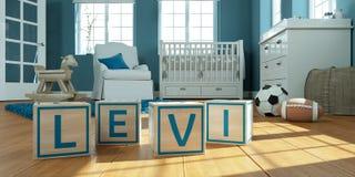 Le nom Lévi écrit avec les cubes en bois en jouet chez la pièce du ` s des enfants Photographie stock