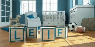 Le nom Leif écrit avec les cubes en bois en jouet chez la pièce du ` s des enfants Images libres de droits