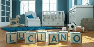 Le nom Luciano écrit avec les cubes en bois en jouet chez la pièce du ` s des enfants Image libre de droits