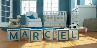 Le nom marcel écrit avec les cubes en bois en jouet chez la pièce du ` s des enfants Photographie stock