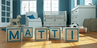Le nom Matti écrit avec les cubes en bois en jouet chez la pièce du ` s des enfants Photo libre de droits