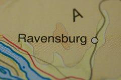 Le nom RAVENSBURG de ville sur la carte Photos libres de droits