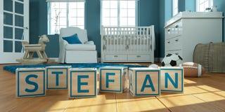 Le nom Stefan écrit avec les cubes en bois en jouet chez la pièce du ` s des enfants Image libre de droits