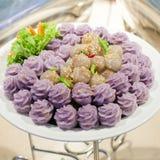 Le nom thaïlandais de dessert est sagou de Kanom Photos stock