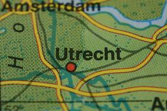 Le nom UTRECHT de ville sur la carte Photo libre de droits