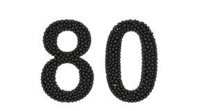 Le nombre noir décoratif 80 a formé des boules emballées illustration de vecteur