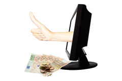 Le nombre virtuel un - concept d'affaires d'Internet - team le succès de travail avec l'argent Images libres de droits