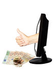 Le nombre virtuel un - concept d'affaires d'Internet - team le succès de travail avec l'argent Photo libre de droits