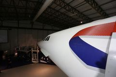Le nosecone d'une Concorde britannique images libres de droits