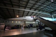 Le nosecone et l'escalier de embarquement d'une Concorde britannique photographie stock