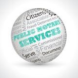 Le notaire public entretient la sphère de thème avec des mots-clés illustration libre de droits