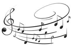 Le note musicali con la G-chiave Immagine Stock Libera da Diritti