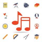 le note musicali hanno colorato l'icona Insieme dettagliato delle icone colorate di istruzione Progettazione grafica premio Una d illustrazione di stock
