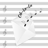 Le note musicali sono emesse dalla busta Illustrazione Vettoriale
