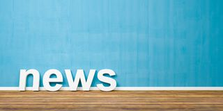 le notizie bianche 3D mandano un sms alla forma sul pavimento di legno di Brown contro la parete blu con Copyspace - l'illustrazi Immagine Stock