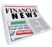 Le notizie finanziarie finanziano il consiglio del giornale di segnalazione Fotografia Stock