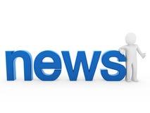 le notizie umane 3d hanno letto l'azzurro Fotografie Stock Libere da Diritti