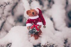 Le nounours de Noël concernent l'arbre de sapin neigeux image libre de droits