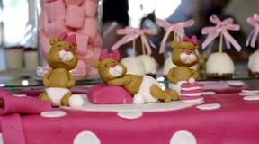 Le nounours doux concerne un gâteau d'anniversaire rose Photos libres de droits