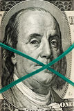 Le nouveau billet d'un dollar 100, se ferment vers le haut du visage de Franklin Photographie stock