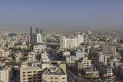 Le nouveau centre ville du secteur d'abdali d'Amman - ville de Jordan Amman - vue des bâtiments modernes à Amman Photos libres de droits