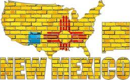 Le Nouveau Mexique sur un mur de briques illustration stock