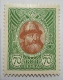 Le nouveau timbre de la Russie 1913 avec l'effigie du tsar Michele I, a placé le ` de Romanov de ` Images stock