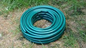 Le nouveau tuyau en caoutchouc vert, qui se situe dans l'arrière-cour, est de dérouler sur la spirale et tiré en avant banque de vidéos