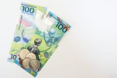Le nouvel argent russe a publié spécifiquement pour le championnat du football 100 et quelques pièces de monnaie avec le symbole  Image libre de droits
